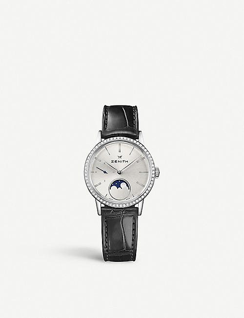 ZENITH 16.2330.692/01.C714 Elite Lady Moonphase alligator-leather and diamond watch