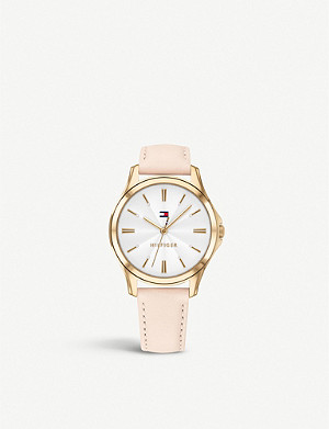 TOMMY HILFIGER Yellow-gold plated stainless steel and leather watch
