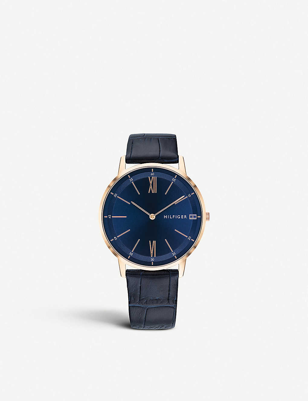 TOMMY HILFIGER: 1791515 Cooper leather and rose gold plated watch