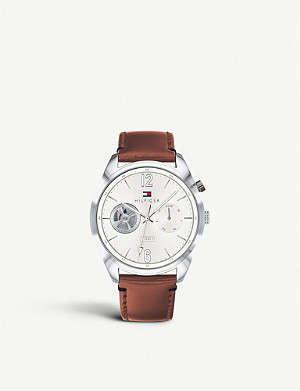 TOMMY HILFIGER 1791550 Descon stainless steel and leather chronograph watch