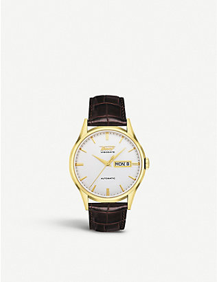 TISSOT: T0194303603101 Heritage Visodate stainless-steel, yellow-gold and leather automatic watch