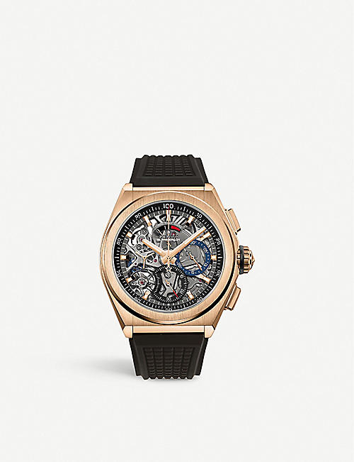 ZENITH: 18.9000.9004/71.R585 Zenith Defy El Primero 21 rose-gold and rubber automatic watch