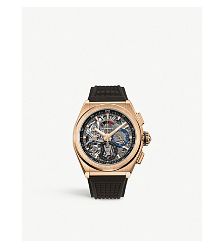 Zenith 18.9000.9004/71.r585  Defy El Primero 21 Rose-gold And Rubber Automatic Watch In Rose Gold