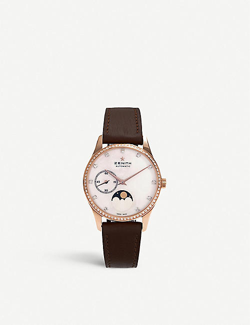 ZENITH: 22.2310.692/81.C709 Elite Lady Moonphase rose-gold and calfskin-leather automatic watch