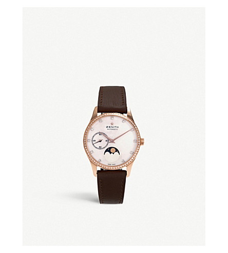 Zenith 22.2310.692/81.c709 Elite Lady Moonphase Rose-gold And Calfskin-leather Automatic Watch In Brown