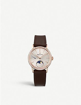 ZENITH: 22.2330.692/01.C713 Elite Lady Moonphase alligator-leather and diamond watch