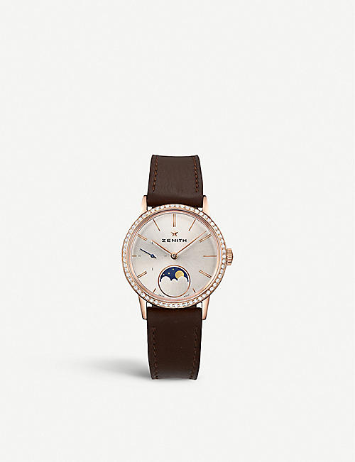 ZENITH: 22.2330.692/01.C713 Elite Lady Moonphase calfskin-leather and diamond watch