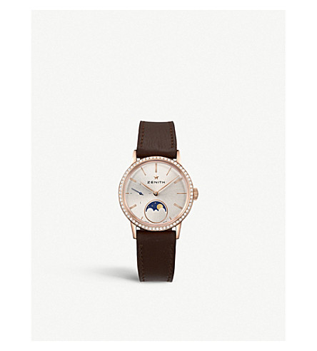 Zenith 22.2330.692/01.c713 Elite Lady Moonphase Calfskin-leather And Diamond Watch In Brown