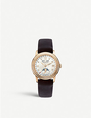 BLANCPAIN: 2360-3691A-55A Leman Moonphase rose-gold and leather strap watch