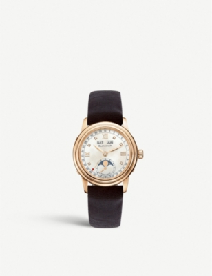 BLANCPAIN 2360-3691A-55A Leman Moonphase rose-gold and leather strap watch