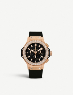 HUBLOT Big Bang rose gold, diamond and kevlar chronograph watch