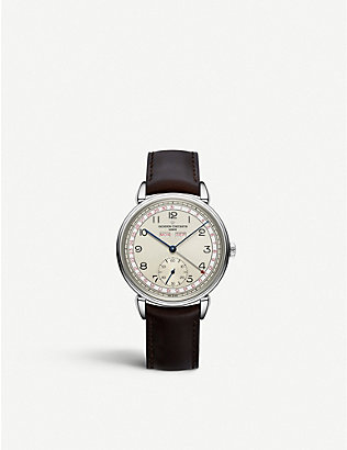 VACHERON CONSTANTIN: 3110V/000A-B425 Historiques Triple Calendrier 1942 stainless steel and leather watch