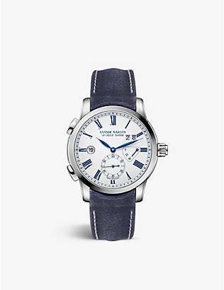 ULYSSE NARDIN: 3243-13-E0 Dual Time Manufacture stainless steel and suede watch