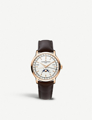 VACHERON CONSTANTIN 4010T/000R-B344 Traditionnelle Complete Calendar 18ct rose fold and leather automatic watch