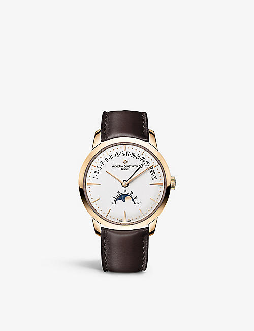 VACHERON CONSTANTIN: 4010U/000R-B329 Patrimony Moon Phase Retrogra Date<BR/>18ct rose-gold and calfskin-leather self-winding watch