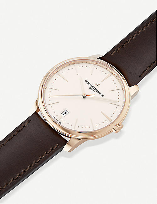 VACHERON CONSTANTIN 4100U/000R-B180 Patrimony Small Model 18ct rose-gold and alligator strap watch