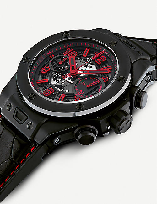 HUBLOT 411.CI.1190.LR.ABR14 Big Bang Unico ceramic and leather chronograph watch