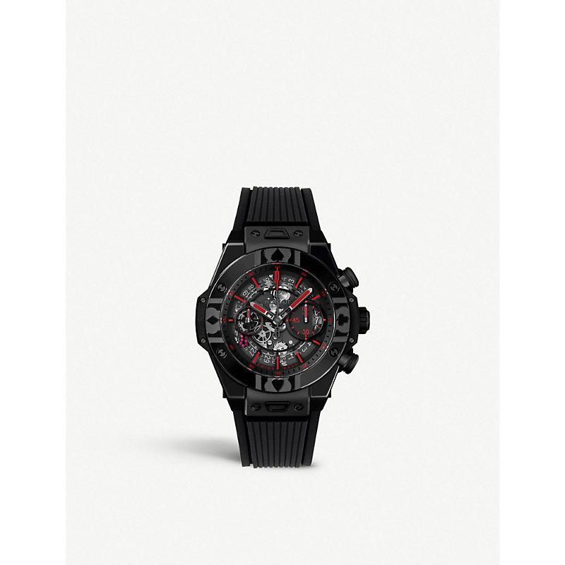 HUBLOT 411.Cx.1113.Lr.Wpt17 Big Bang Unico World Poker Tour Ceramic And Alligator-Leather Watch