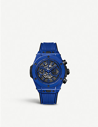 HUBLOT: 411.ES.5119.RX Big Bang Unico Blue Magic ceramic chronograph watch