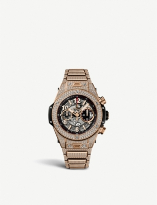 HUBLOT 411.OX.1180.OX.3704 Big Bang Unico 18K king gold, diamond and rubber watch