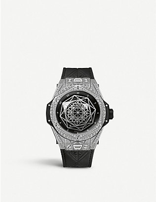 HUBLOT: 415.NX.1112.VR.1704.MXM17 Hublot Big Bang Sang Bleu diamond, titanium and leather watch