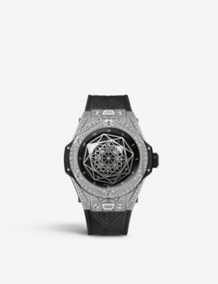 HUBLOT 415.NX.1112.VR.1704.MXM17 Hublot Big Bang Sang Bleu diamond, titanium and leather watch