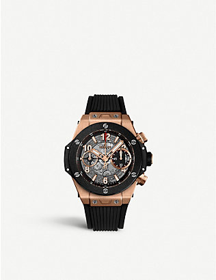 HUBLOT: 411.OM.1180.RX Big Bang Unico 18ct rose-gold and rubber strap watch