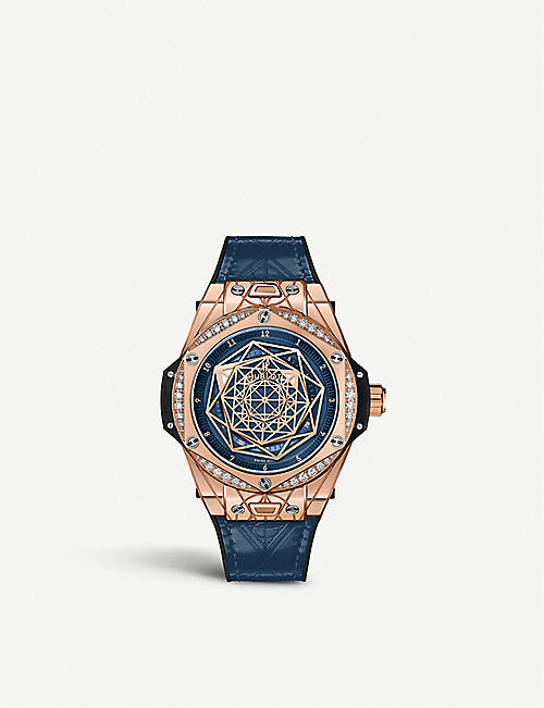 HUBLOT 465.OS.7189.VR.1204.MXM19 Big Bang One Click Sang Bleu 18ct king-gold and diamond watch