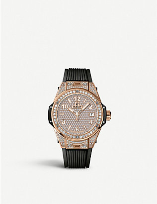 HUBLOT: 465.OX.9010.RX.1604 Big Bang One Click diamond, 18ct gold and rubber watch