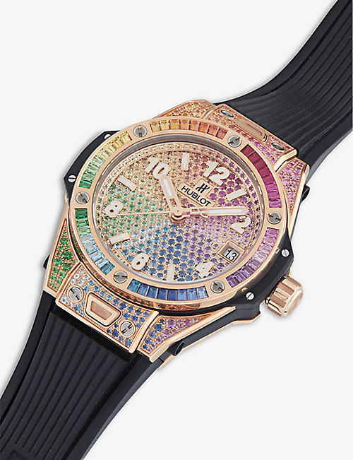 HUBLOT 465.OX.9910.LR.0999 Big Bang One Click Rainbow 18ct king-gold and gemstone watch