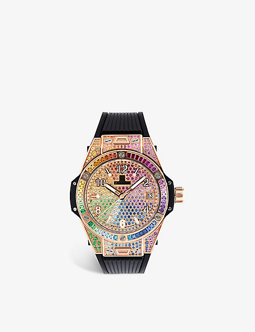 HUBLOT: 465.OX.9910.LR.0999 Big Bang One Click Rainbow 18ct king-gold, gemstone and satin watch