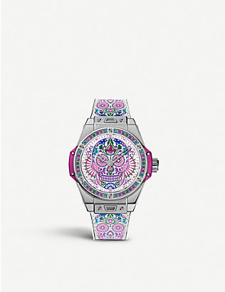 HUBLOT: 465SX2090VR1299MEX18 Big Bang One Click Calavera Catrina stainless steel, leather and rubber watch