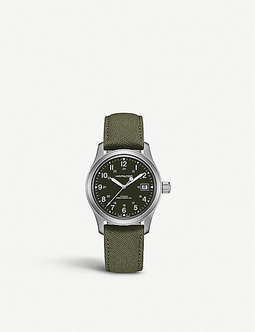 HAMILTON: H69419363 Khaki Field Officer stainless steel and canvas watch