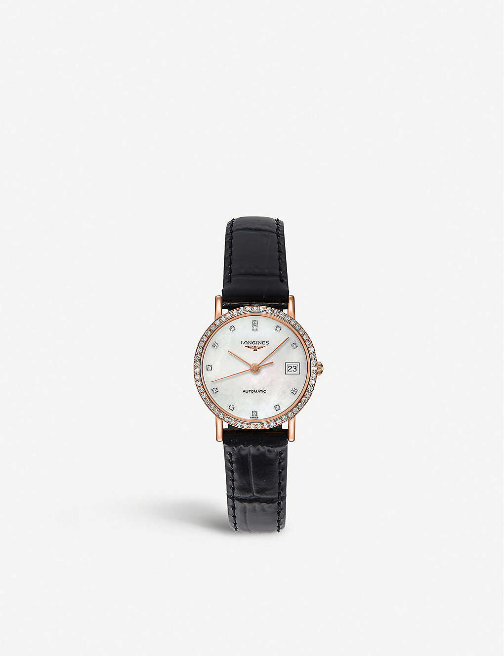 279f49acf LONGINES Elegant 18ct rose gold, mother-of-pearl and leather strap watch