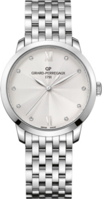 GIRARD-PERREGAUX 49523-11-171-11A 1966 stainless steel silver and diamond watch