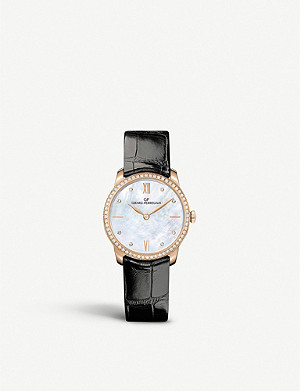 GIRARD-PERREGAUX 49528D52A771-CK6A 1966 rose-gold, diamond and alligator leather automatic watch