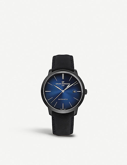 GIRARD-PERREGAUX: GP03300-0132 1966 Earth To Sky Edition stainless-steel and leather automatic watch