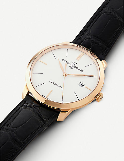 GIRARD-PERREGAUX 49555-52-132-BB60 1966 alligator-leather and 18ct rose-gold watch