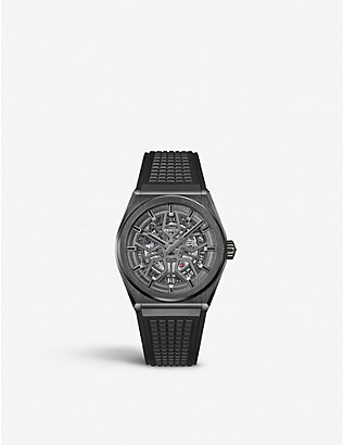 ZENITH: 95.9001.670/77.R791 Defy Classic Range Rover brushed titanium and rubber watch