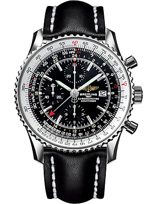 BREITLING: A2432212/B726/441X/A20BA.1 Navtimer World chronograph stainless steel and leather watch
