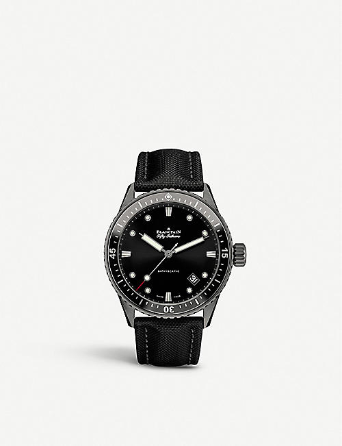 BLANCPAIN: 50000130B52A Fifty Fathoms brushed steel watch