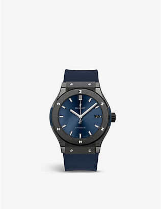 HUBLOT: 511.CM.7170.LR Classic Fusion Ceramic Blue stainless-steel and rubber watch