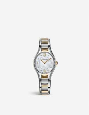 RAYMOND WEIL 5124-SPS00985 Noemia stainless steel, yellow-gold, diamond and mother-of-pearl watch