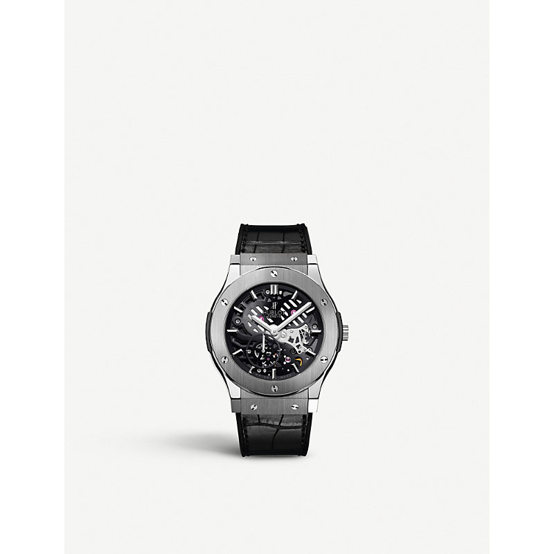 HUBLOT 515Nx0170Lr Classic Fusion Titanium And Leather Watch in Black