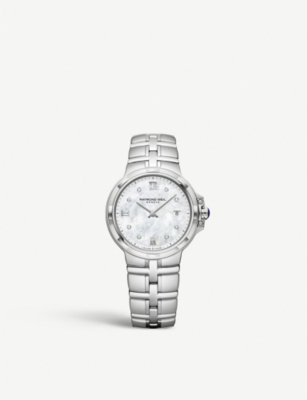RAYMOND WEIL 5180-ST-00995 Parsifal stainless steel, mother-of-pearl and diamond quartz watch