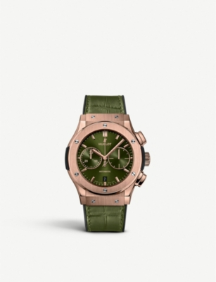 HUBLOT 521.OX.8980.LR Classic Fusion 18ct King Gold and alligator-leather watch