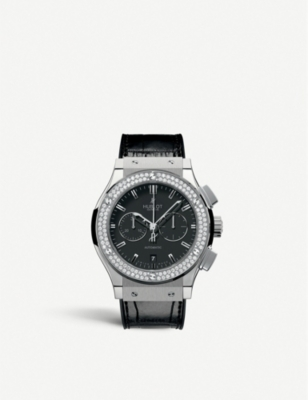 HUBLOT 541.NX.1170.LR.1104 Classic Fusion titanium, diamond and alligator-leather watch