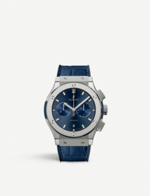 HUBLOT 541.NX.7170.LR Classic Fusion Blue titanium and leather watch