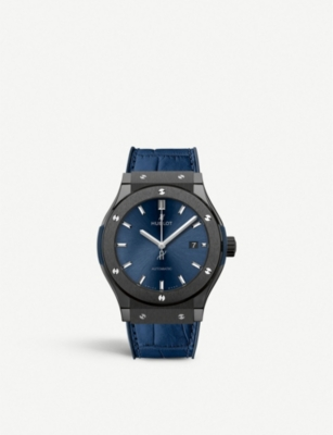 HUBLOT 542.CM.7170.LR Classic Fusion Blue titanium and leather watch