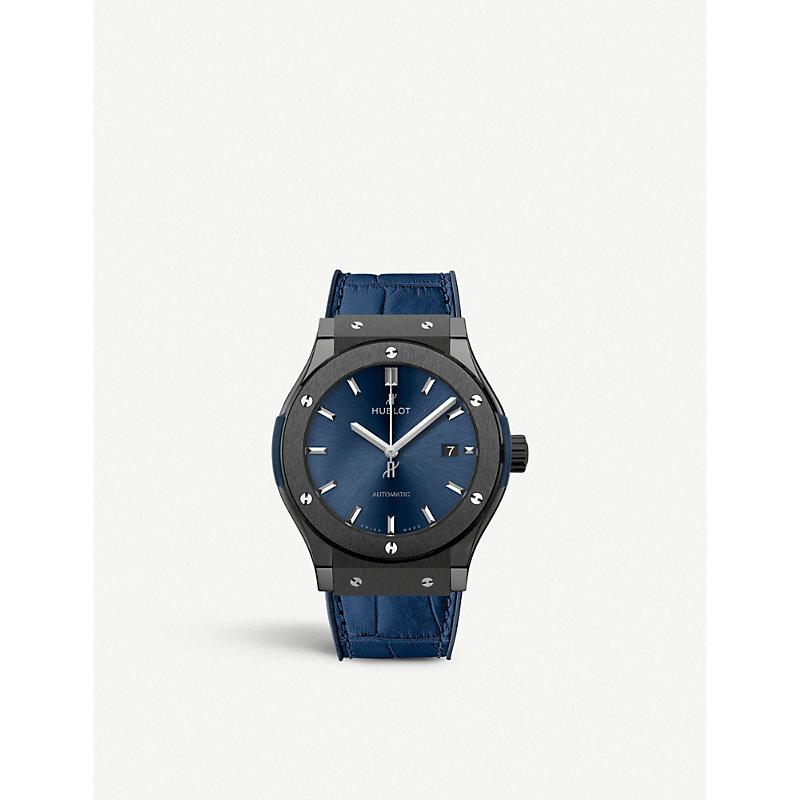 Hublot 542.CM.7170.LR CLASSIC FUSION BLUE TITANIUM AND LEATHER WATCH
